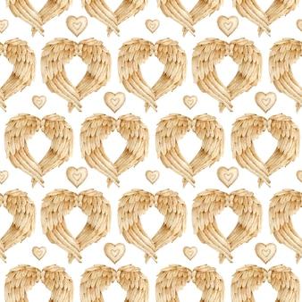 Aquarel patroon met bruine engel vleugels en harten