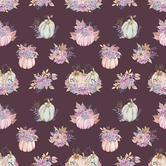 Aquarel patroon met pompoen boeketten met dahlia en asters, bessen, herfstbladeren.