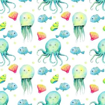 Aquarel patroon van zeeleven