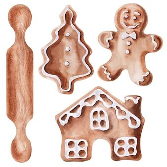 Aquarel peperkoekfiguren en gereedschappen voor hun bereiding