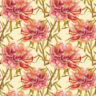 Aquarel pioen veldboeket patroon