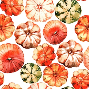 Aquarel pompoen naadloos patroon