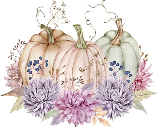 Aquarel pompoenen versierd met herfstbloemen