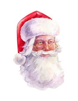 Aquarel portret van de kerstman