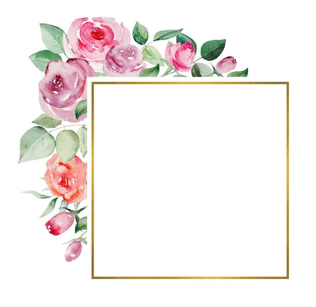 Aquarel ppink en rode rozen bloemen en bladeren geometrische frame