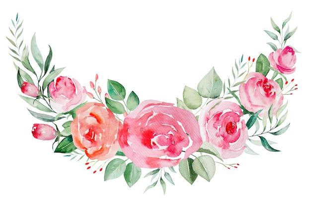 Aquarel ppink en rode rozen bloemen en bladeren