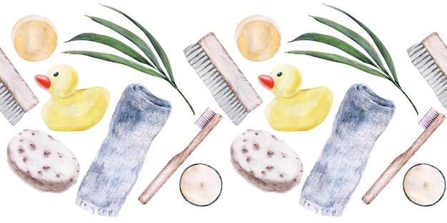 Aquarel randen met accessoires voor de badkamer.