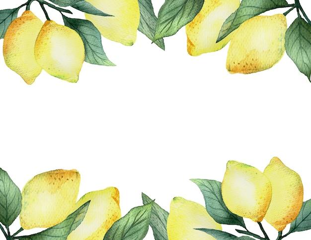 Aquarel rechthoekig frame met felgele citroenen op een witte achtergrond, helder zomerontwerp.