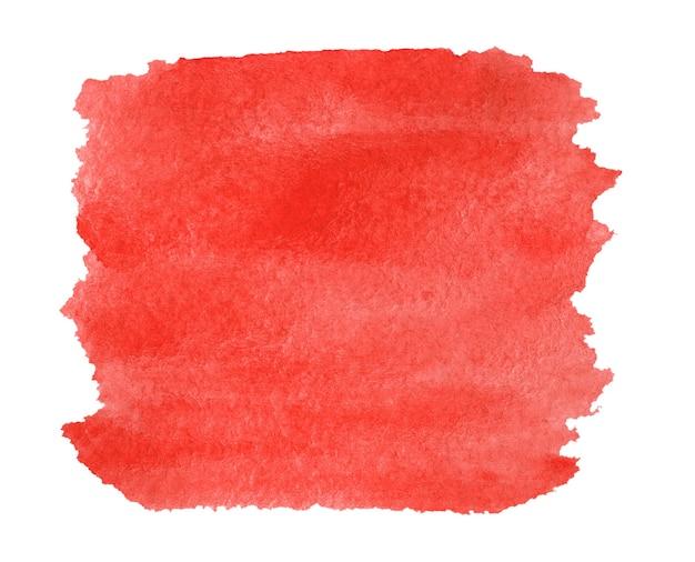 Aquarel rode heldere vierkante achtergrond geïsoleerd op wit