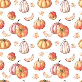 Aquarel rode pompoen en herfstbladeren op witte achtergrond. naadloze patronen