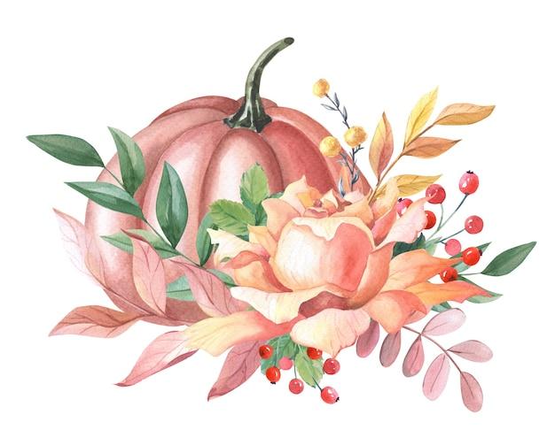 Aquarel rode pompoen, oranje roos, bladeren, rode bes op witte achtergrond.