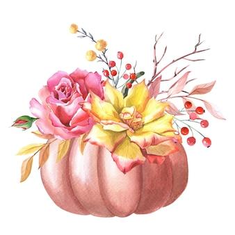 Aquarel rode pompoen, roze en gele roos, bladeren, rode bes op witte achtergrond.