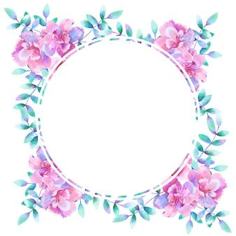 Aquarel ronde bloemen frame.