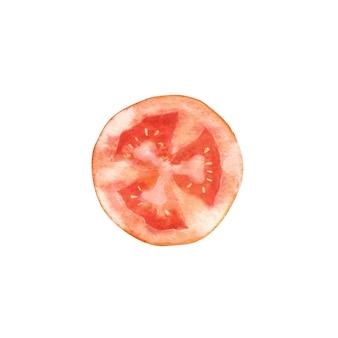 Aquarel ronde plakje tomaat