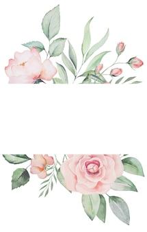 Aquarel roze bloemen en groene bladeren frame kaart, romantische pastel illustratie voor bruiloft briefpapier, groeten, behang, mode, posters