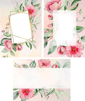 Aquarel roze bloemen en groene bladeren frame kaart, romantische pastel illustraties voor bruiloft stationair, groeten, behang, mode, posters