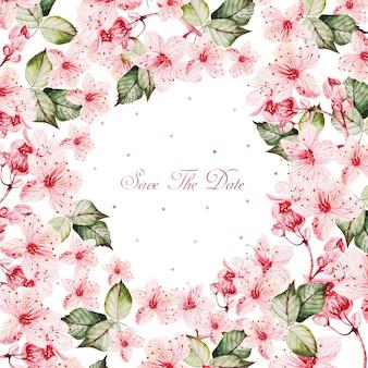 Aquarel roze bloemen rond frame op witte achtergrond en save the day-tekst in het midden