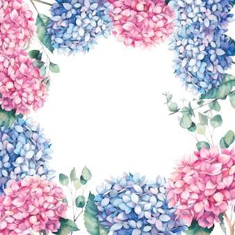 Aquarel roze en blauwe hortensia frame. handgeschilderde botanische illustratie van tuinbloemen en eycalyptusbladeren. natuurlijk kaartontwerp op witte achtergrond