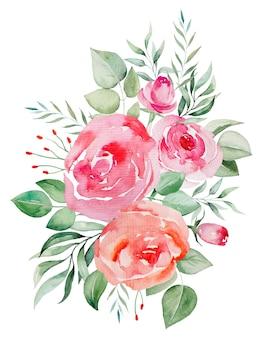 Aquarel roze en rode rozen bloemen en bladeren boeket