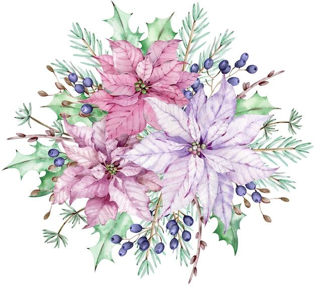 Aquarel roze en violette poinsettia bloemen met pijnboomtakken en blauwe bessen. kerst boeket.