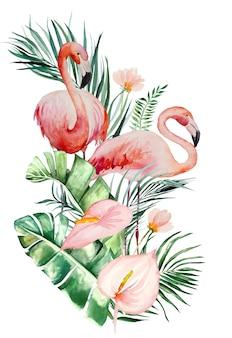 Aquarel roze flamingo, tropische bladeren en bloemen boeket ontwerp geïsoleerde illustratie voor bruiloft briefpapier, groeten, behang, mode, posters