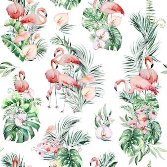 Aquarel roze flamingo, tropische bladeren en bloemen frame geïsoleerde illustratie voor bruiloft briefpapier, groeten, behang, mode, posters