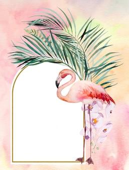 Aquarel roze flamingo, tropische bladeren en bloemen frame illustratie met aquarel achtergrond. huwelijksuitnodigingen, briefpapier, groeten, mode, posters