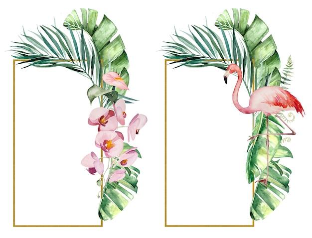Aquarel roze flamingo, tropische bladeren en bloemen frames geïsoleerde illustratie voor bruiloft briefpapier, groeten, behang, mode, posters