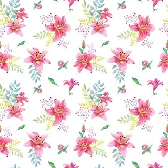 Aquarel roze lelies.