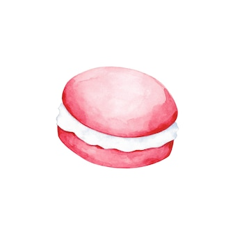 Aquarel roze macaroon illustratie geïsoleerd op een witte achtergrond. taart illustraties. rond dessertontwerpelement.