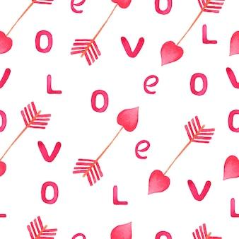 Aquarel roze pijl en liefdesbrieven patroon.