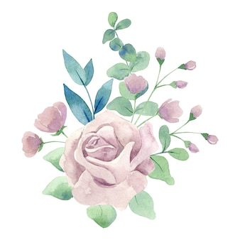 Aquarel roze roos met groene bladeren geïsoleerd op een witte achtergrond