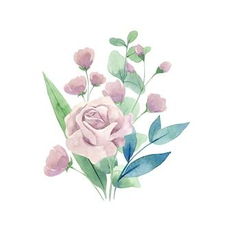 Aquarel roze rozen bloemen boeket geïsoleerd op een witte achtergrond