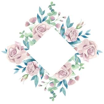 Aquarel roze rozen bloemen frame geïsoleerd op een witte achtergrond