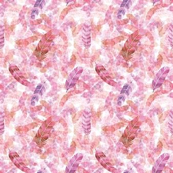 Aquarel roze veren naadloze patroon, abstracte print