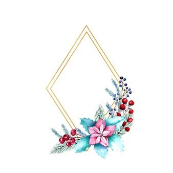 Aquarel ruitvormig frame met bessen, poinsettia bloemen, dennentakken.