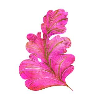 Aquarel samenstelling roze en bladgoud met krullen van een fantasieplant