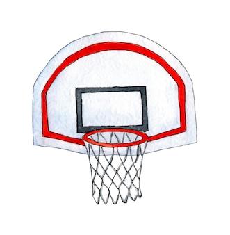 Aquarel schets basketbalmand met rug. basketbal en doelillustratie combineren potloodtekening en waterverfschets. geïsoleerd op witte achtergrond. met de hand getekend.