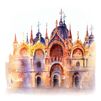 Aquarel schets van de kathedraal basiliek van san marco, venetië, italië.
