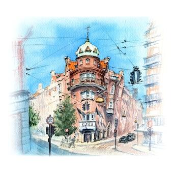 Aquarel schets van de oude binnenstad van kopenhagen, denemarken