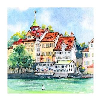 Aquarel schets van de rivier limmat in de oude binnenstad van zürich, zwitserland