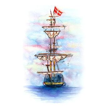 Aquarel schets van deens zeilschip in kopenhagen, denemarken.