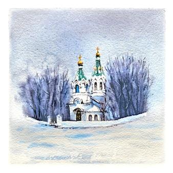 Aquarel schets van typische orthodoxe kerk in besneeuwde winterdag