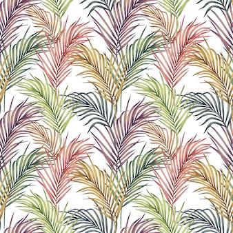 Aquarel schilderij kleurrijke palm verlaat naadloze patroon.