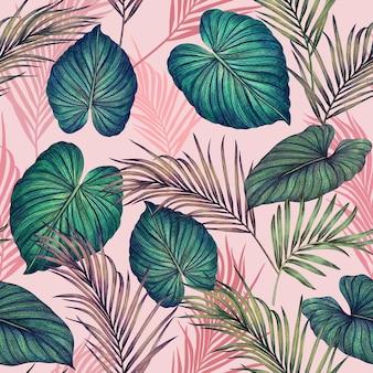 Aquarel schilderij kleurrijke tropische bladeren naadloze patroon.