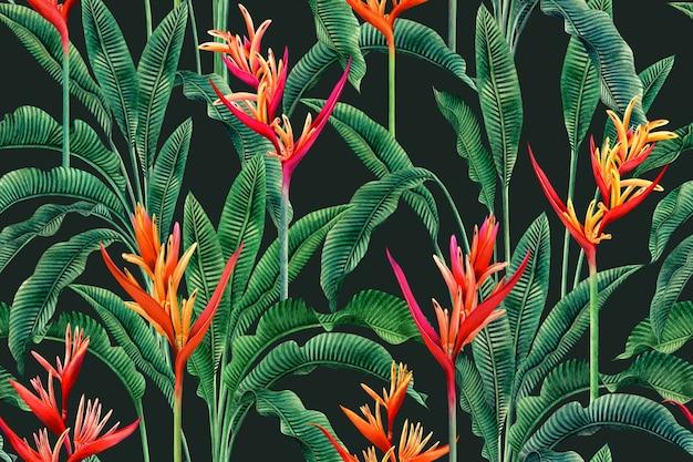 Aquarel schilderij paradijsvogel bloemen, kleurrijke naadloze patroon