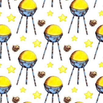 Aquarel schilderij patroon van satelliet sterren en meteoriet ruimteverkenning ruimtevaart