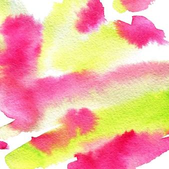 Aquarel schilderij textuur. achtergrond uit de vrije hand in roze en groene kleuren
