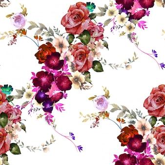Aquarel schilderij van blad en bloemen, naadloze patroon op wit
