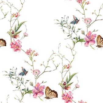 Aquarel schilderij van blad en bloemen, naadloze patroon op witte achtergrond